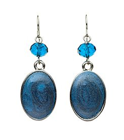 Studio Works® Teal and Silvertone Post Oval Enamel Earrings