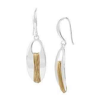 Robert Lee Morris Soho™ Two-Tone Wire Wrapped Oval Drop Earrings