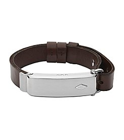 Fossil® Q Men's Silvertone Reveler Activity Tracker Bracelet With Brown Leather Strap