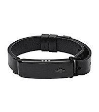 Fossil® Q Men's Blacktone Reveler Activity Tracker Bracelet With Black Leather Strap