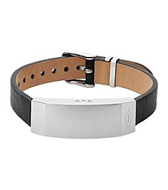 Fossil® Q Women's Silvertone Dreamer Activity Tracker Bracelet with Black Leather Strap