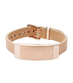 Fossil® Q Women's Rose Goldtone Dreamer Activity Tracker Bracelet with Tan Leather Strap