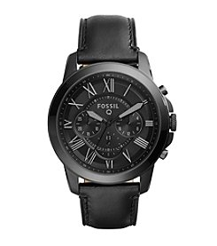 Fossil® Q Black-tone Grant Watch with Black Leather Strap