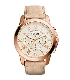 Fossil® Q Rose Goldtone Grant Watch with Tan Leather Strap