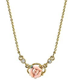 Downton Abbey® Carded Goldtone Pink Porcelain Rose Necklace