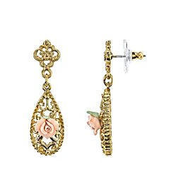 Downton Abbey® Carded Goldtone Pink Porcelain Rose Drop Earrings