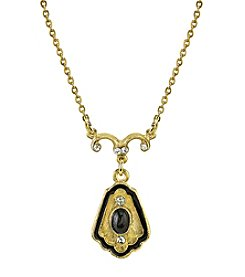 Downton Abbey® Boxed Goldtone Black Stone with Enamel and Crystal Drop Necklace