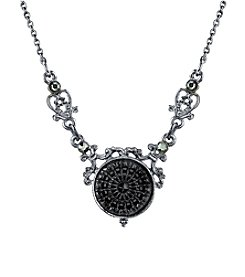 Downton Abbey® Boxed Silvertone Engraved Black Stone Drop Necklace