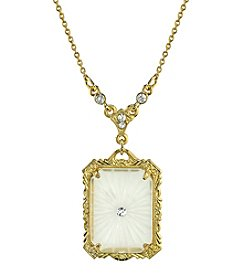 Downton Abbey® Boxed Goldtone Frosted Lalique-Inspired Square Pendant Necklace
