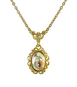 Downton Abbey® Carded Goldtone Flower Decal Oval Drop Necklace
