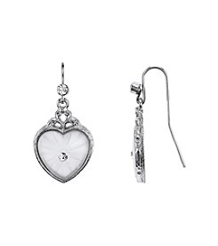 Downton Abbey® Carded Silvertone Frosted Lalique-Inspired Heart-Shaped Drop Earrings