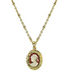 Downton Abbey® Boxed Goldtone Oval Cameo Locket Necklace