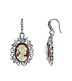 Downton Abbey® Boxed Silvertone Oval Cameo Drop Earrings