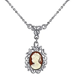 Downton Abbey® Carded Silvertone Oval Cameo with Crystal Drop Necklace