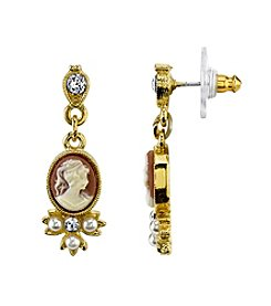 Downton Abbey® Carded Goldtone Oval Cameo Simulated Pearl and Crystal Drop Earrings