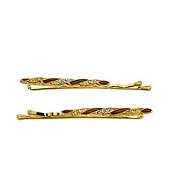 Downton Abbey® Carded Goldtone Red Enamel and Crystal Hair Bobby Pins