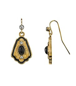 Downton Abbey® Carded Goldtone Black Stone with Enamel and Crystal Drop Earrings