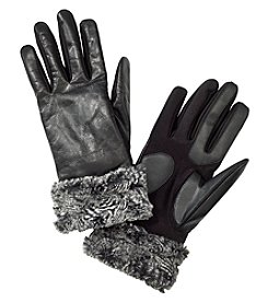 Isotoner Women's Signature® Stretch Leather Gloves with Fur