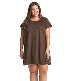 Living Doll® Plus Size Faux Suede Swing Dress