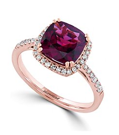 Effy® Bordeaux Collection Rhodolite and .25 ct. Diamond Ring in 14K Rose Gold