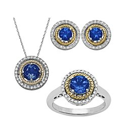 Created Sapphire Sterling Silver And 14k Yellow Gold Set