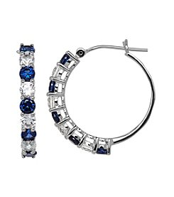 Blue And White Sapphire Hoop Earrings In 10K White Gold