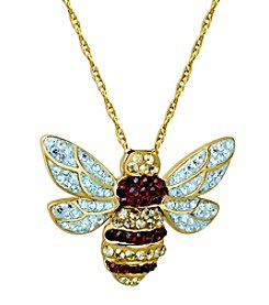 Impressions® Sterling Silver Bee Pendant  With Yellow And Brown Crystal
