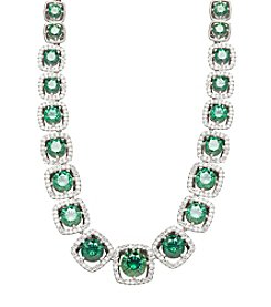Balentino® Sterling Silver Green Swarovski® Cubic Zirconia Necklace