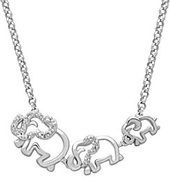 Sterling Silver Three Elephant Necklace With 0.03 Ct. T.W. Diamond Accents