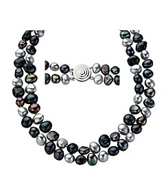 Silver Shades Of Grey Cultured Freshwater Pearl Necklace
