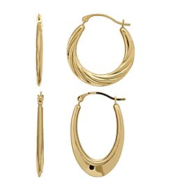 10k Yellow Gold Boxed Hoop Earrings Set