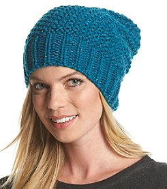 Collection 18 Metallic Seed Stitch Slouchy Hat