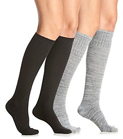 Relativity® 2-Pack Melange Knee Socks