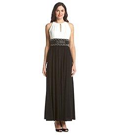 R&M Richards® Bead Waist Keyhole Halter Dress