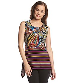 Joan Vass® Sleeveless Paisley Stripe Top