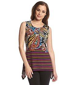 Joan Vass® Sleeveless Paisley Stripe Top