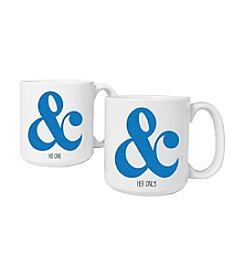 Cathy's Concepts Set of 2 20-oz. Ampersand Large Coffee Mugs