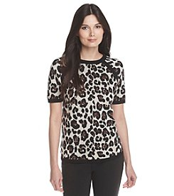 Anne Klein® Solid Trim Leopard Print Sweater