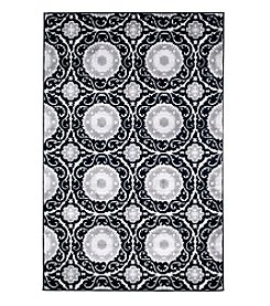 Lavish Home Royal Damask Black Accent Rug