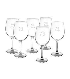 Cathy's Concepts Set of 6 Personalized 12-oz. White Wine Glasses