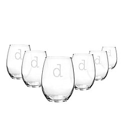 Cathy's Concepts Set of 6 Personalized 15-oz. Stemless Wine Glasses
