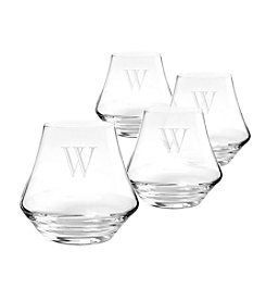 Cathy's Concepts Set of 4 Personalized 9.75-oz. Contemporary Whiskey Glasses