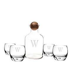 Cathy's Concepts Personalized Glass Bourbon Decanter with Wood Stopper Set