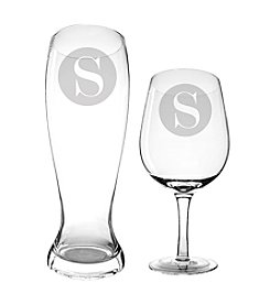Cathy's Concepts Personalized Novelty Single Initial XL Beer and Wine Glass Set