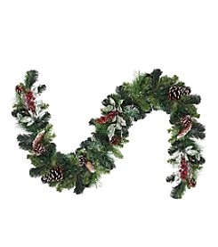Pre-Decorated Frosted Pine Cone and Red Berry Artificial Unlit Christmas Garland