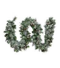 Pre-Lit Frosted Arctic Mist Pine Artificial Christmas Garland with Clear Lights