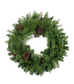 Noble Fir with Red Berries and Pine Cones Artificial Unlit Christmas Wreath