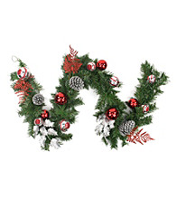 Pre-Decorated Red and Silver Holly, Ball, Cedar and Pine Cone Artificial Unlit Christmas Garland