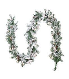 Pre-Lit Flocked Victoria Pine Artificial Christmas Wreath with Clear Lights