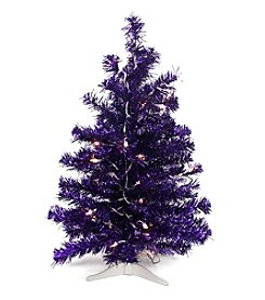 Pre-Lit Purple Iridescent Artificial Tinsel Pine Christmas Tree with Clear Lights